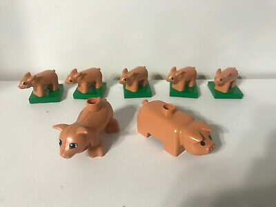 Animals Adults And Babies (Lego Duplo Pigs Animals Adults and 5 Babies Farm House Home  Lot Set   )