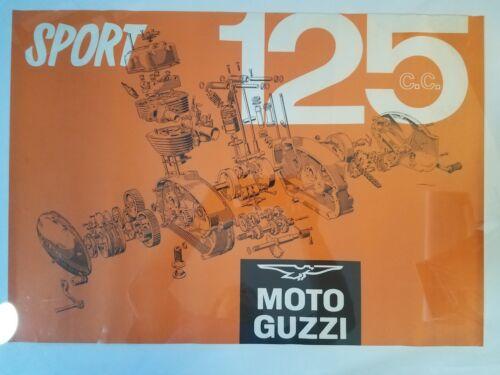 MOTO GUZZI 125 SPORT POSTER EXPLODED ENGINE VINTAGE DEALER ADVERTISING 19 X 28
