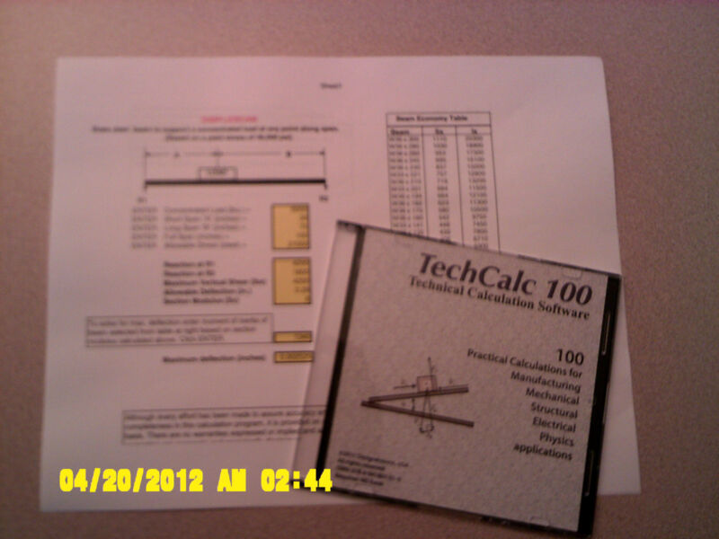 100 Technical Calculations for  Students, Engineers, and Architects  (2-5 users)