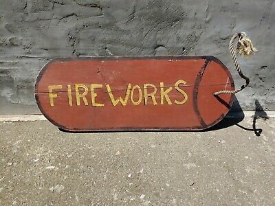 Fireworks Advertising Sign Hand Painted Wood Art