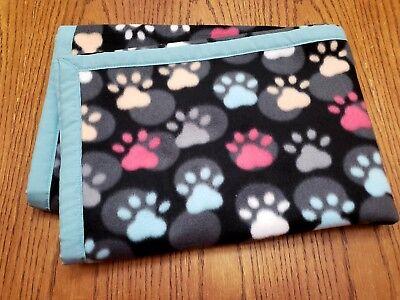 "Handmade""DOG PAWS"" 30x41in blue trim fleece baby/toddler/lap/puppy blanket-gift"