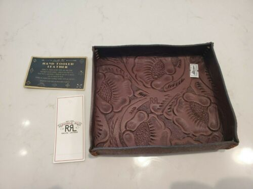 $195 Authentic New RRL Ralph Lauren Hand Tooled Leather Tray