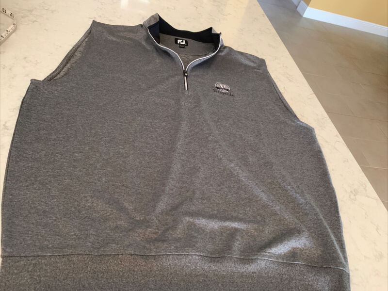 FJ FootJoy Gray  Nylon Spandex 1/4 Zip Pullover Vest Mens Large