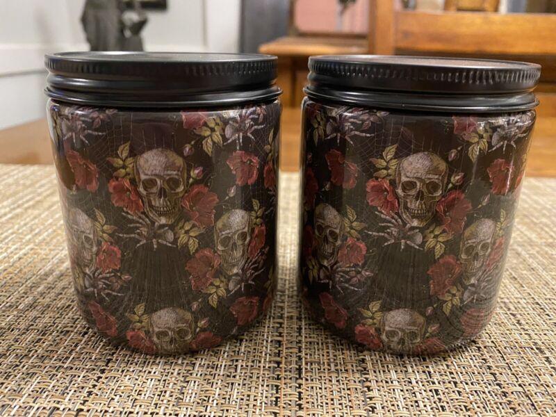 Set of 2 Halloween Jar Candles - Skulls & Roses Design - Forest Fog Pumpkin