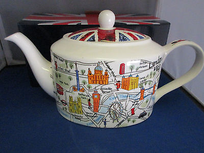 James Sadler  LONDON MAPS  Collector Tea Pot, Bone China imported UK
