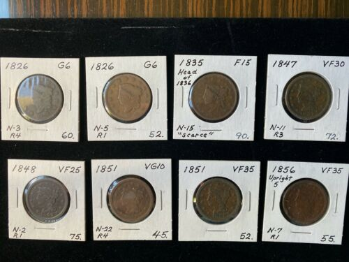 "Lot of 8 early US copper ""large cents"" - 1826, 1835, 1847, 1848, 1851, 1856"