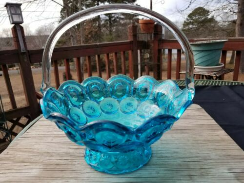 Smith Glass Moon and Star Colonial Blue Clear Handle 11 in. Basket