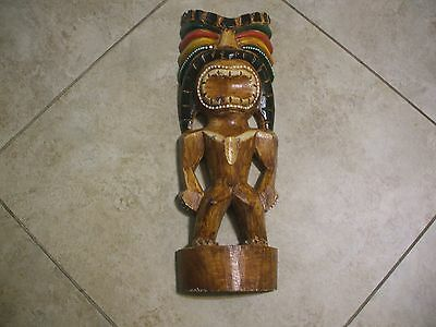 HAWAIIAN ISLAND TIKI OF LOVE STATUE 16'' HAND CARVED AND HAND PAINTED Decor