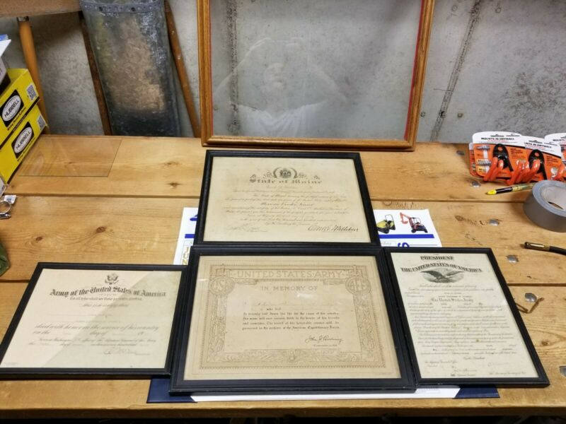 WW1 KIA Officer Documents & Awards Framed Maine Veteran Local Hero Document...
