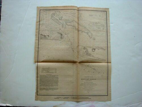 1851 Beaufort Harbor Shackleford Banks North Carolina 14 x 18 Coastal Survey Map
