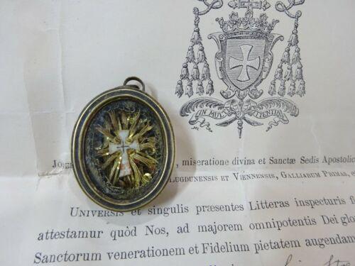 ✝ Reliquary Relic TRUE CROSS CRUCIS D.N.J.C. + Document