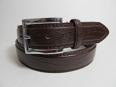 "Men Dark Brown Leather Belt with Silver Buckle 36"" #3001"