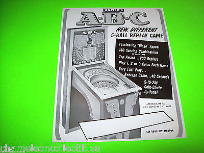 Abc By United 1951 Original Bingo Pinball Machine Promo Sales Flyer    1St Made