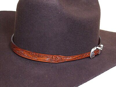 Cowboy Hat Band Tooled Leather Decorative Buckle Tip and Keeper Brown
