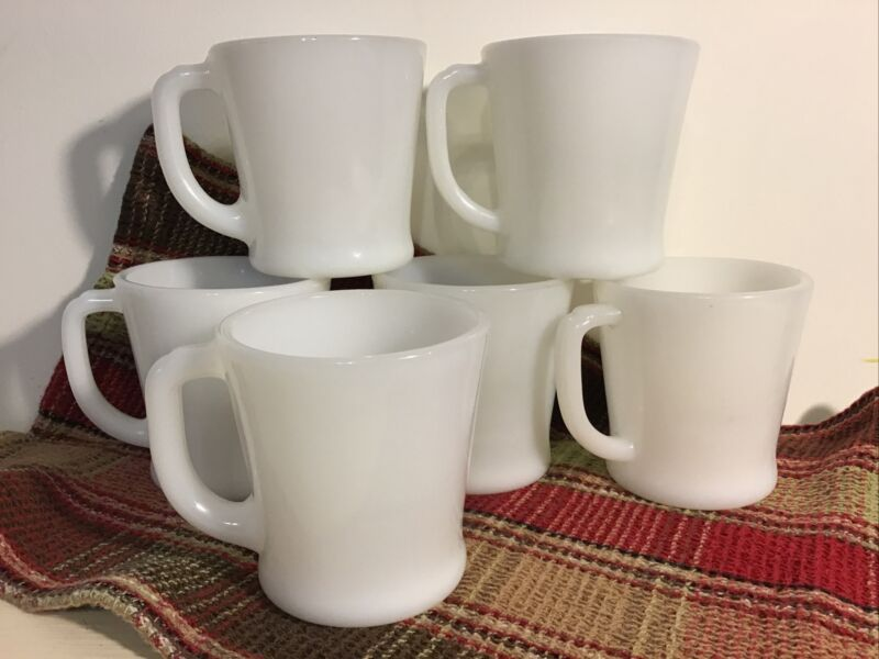 Vintage Fire King D Handle Cup Mug 6 White