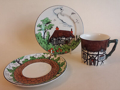 Art Deco John Maddock Rustic tudor cottage ware Trio