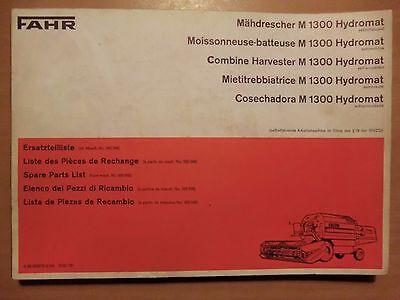 Ersatzteilliste Fahr Mähdrescher M 1300 Hydromat Harvesters 1973 mit Schaltplan