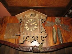 Vintage Antique Gebruder Kuner GK Cuckoo Clock Hand Carved Black Forest PARTS