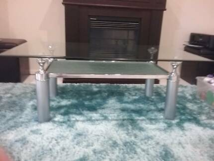 Glass & chrome coffee table with matching lamp table