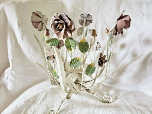 ITALIAN TOLE WHITE FLORAL CANDELABRA CANDLE HOLDER CHIPPY CHIC SHABBY VINTAGE