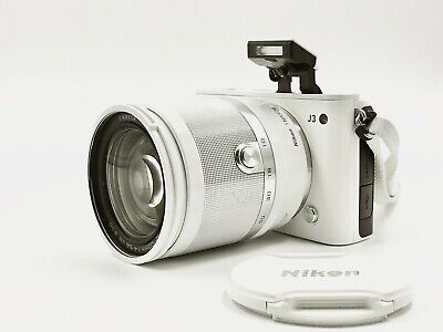 (WHITE) Nikon 1 J3 Mirrorless Camera w/ VR 10-100mm Compact All-In-On Zoom Lens