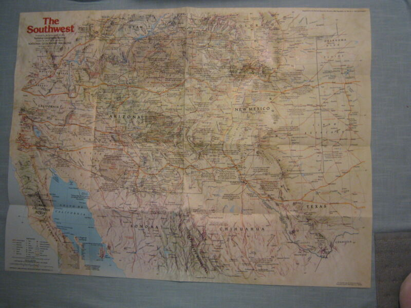THE SOUTHWEST MAP THE MAKING OF AMERICA + HISTORY National Geographic 1982 MINT