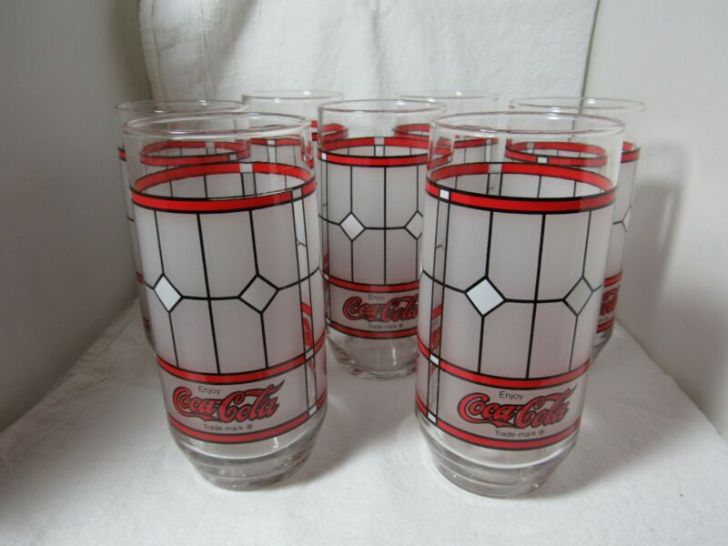 7 Coca Cola Drinking Glasses Vintage Tiffany Style Coke Frosted Glass
