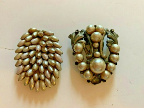 LOT OF 2 ANTIQUE PEARL BEAD DRESS CLIPS