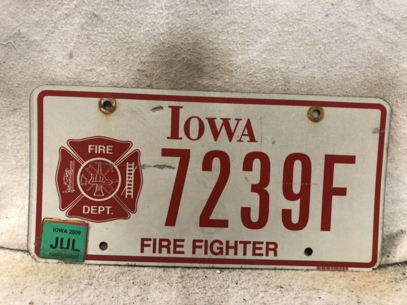 2009 Iowa Firefighter License Plate