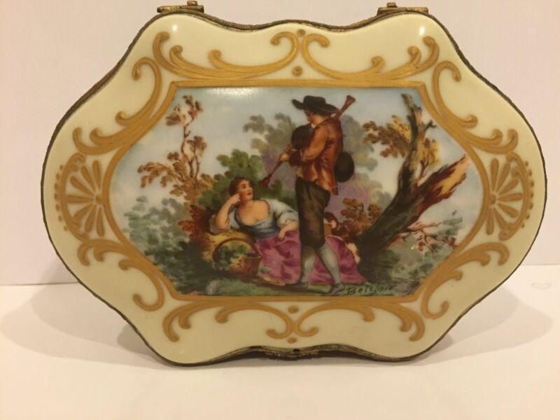 Vintage Antique Sevres Style Porcelain Jewelry Trinket Box  w/ Romantic  Scenes