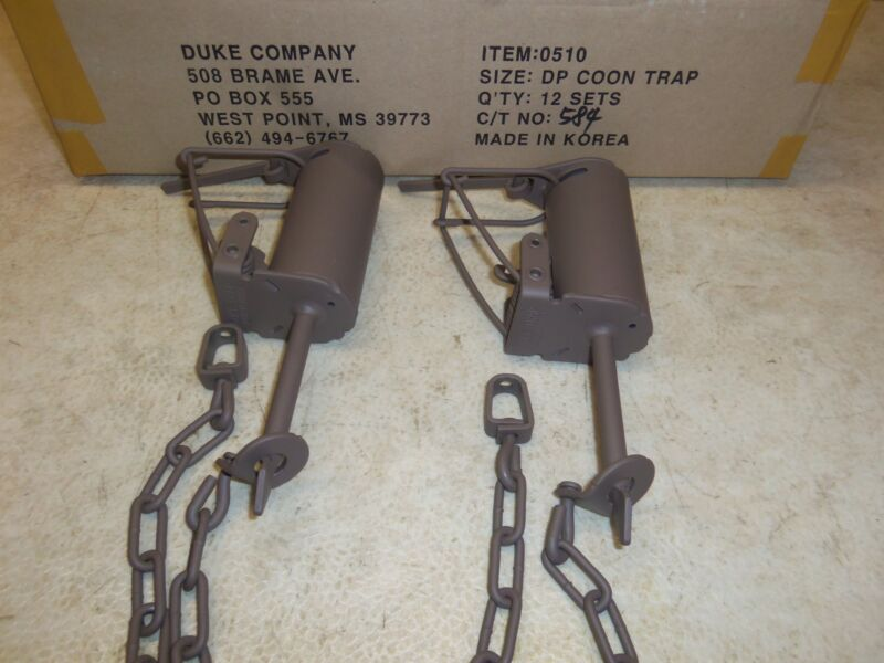 2 Powder Coated Duke DP Dog Proof Coon Foothold Traps Trapping Raccoon 0510