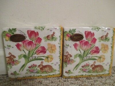 NEW Entertaining with Caspari Easter Bouquet 20 Napkins bunny flowers Set of 2