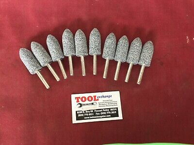 """New 1//4"""" Shaft Mounted Stone Grinding Bit Long Cone 10 Pack USA made"""