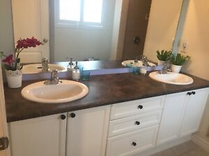 Double sink vanity countertop or single sink can be cut
