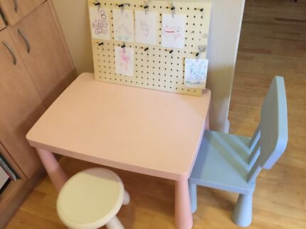 Ikea MAMMUT Children table, chair, and stool