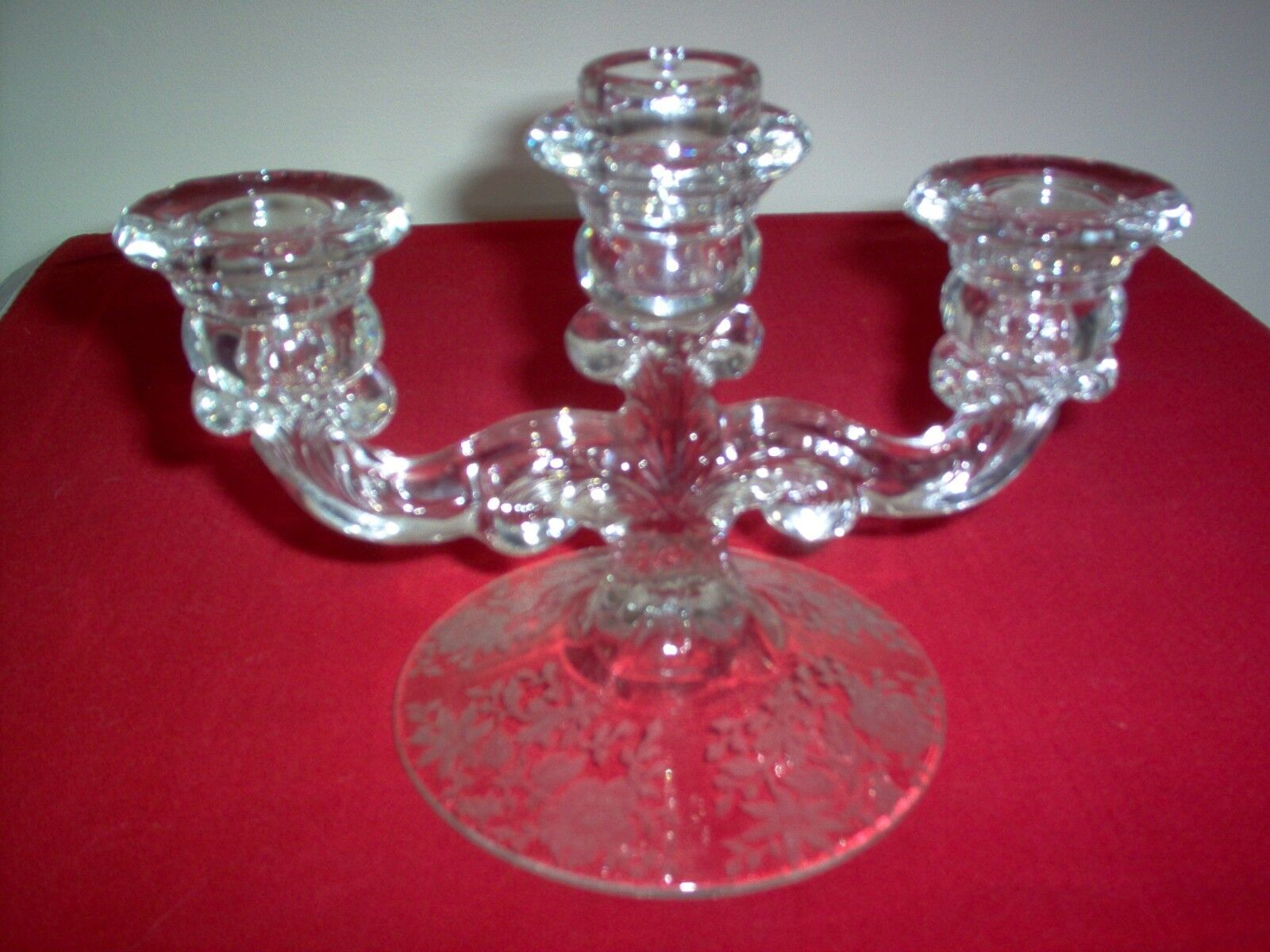 Cambridge wildflower crystal 1307 3 lite candle holder 5 for Naugatuck glass company