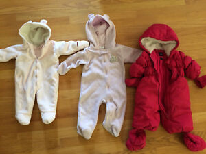 0-6mth girl snowsuits