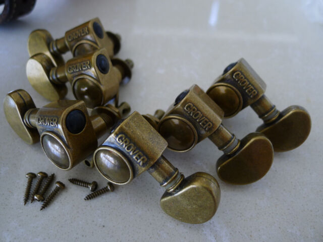 Original 3R/3L Grover 102 Tuners Tuning Pegs Machine 18:1 Bronze