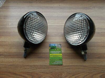 John Deere A B G L La M 320 40 420 Complete Headlight Assembly Black 12v Set