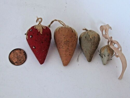 4 Antique Victorian Strawberry Emery Pin Cushions
