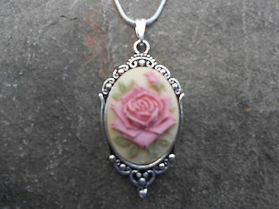 Pink Rose Cameo (-STUNNING (pink rose on tan) CAMEO NECKLACE!! QUALITY- .925 SILV PLATED)