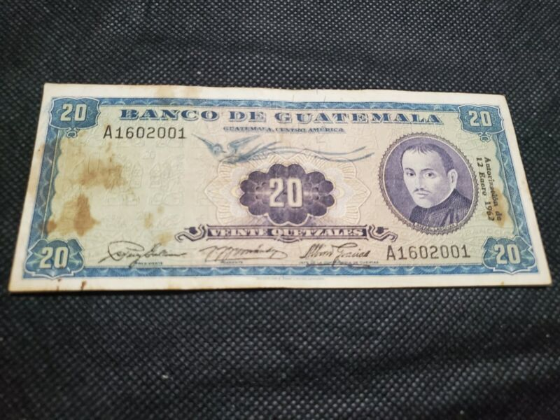 Guatemala 20 Quetzales  1962 Banknote very rare and scarce