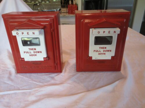 2 Vintage GAMEWELL Fire Station Alarm Call Box ~ with  mechanism