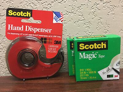 Scotch H127 Hand Tape Dispenser With 2 Rolls Scotch Magic Tape 34 X 1000
