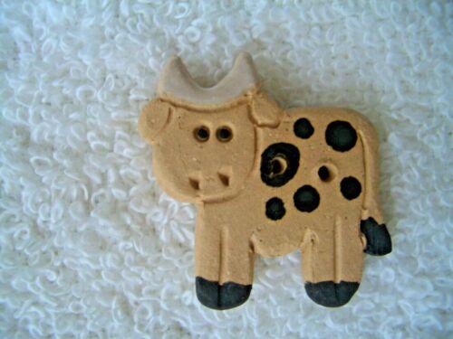 1 COW HANDMADE CERAMIC 2-HOLE BUTTON