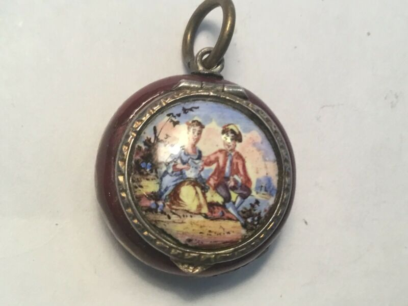 STUNNING Antique Victorian Silver Enamel Painting VINAIGRETTE Scent Scenic
