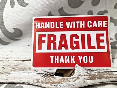 50 Pretorn Handle With Care Fragile Thank You Stickers Shipping Supplies Ebay