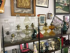 Choice of several coal oil lamps $20