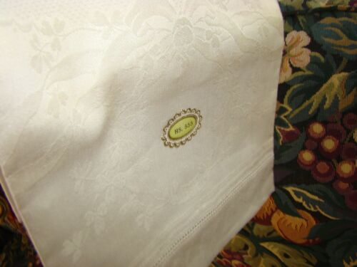ANTIQUE HAND WOVEN HUCK SHOW TOWEL HS-555 SHAMROCK BROCADE NEVER USED