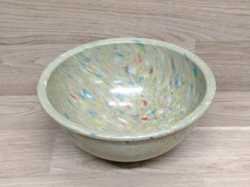 """Vintage Texas Ware Bowl 118 Splatter Speckled Confetti Blue Yellow Green Red 10"""""""
